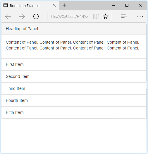 Panel with List Groups