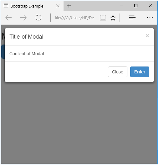 content to modal
